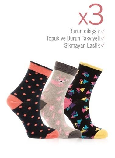 Miorre 3'lü  Burnu Dikişsiz Desenli Kadın Soket Çorap Renkli